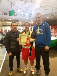 Cheyanne O'Neill with Irish coaches Dmitri Dimitruc and Paddy Gallagher