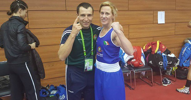 Moira McElligott with Irish coach Dmitry Dimitruc