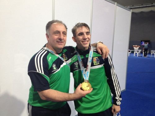 Irish head coach Zaur Antia and Michael Conlan - and gold - at 2015 World Championships in Qatar