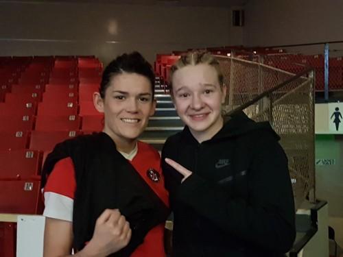 Shauna O'Keeffe and Amy Broadhurst after tonight's semi-final
