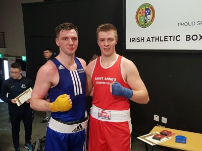 Ryan Dervan (NUIG) Blue following his narrow loss to James Daly (GMIT) Red in the Senior Elite 81KG final