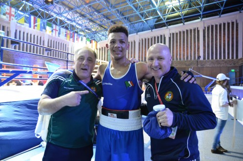 Keylan Cassidy with Irish coaches Zaur Antia and Pat McDonagh after today's win