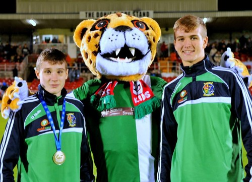 Eamer Coughlan and Tommy Hyde with Cork City FC mascot